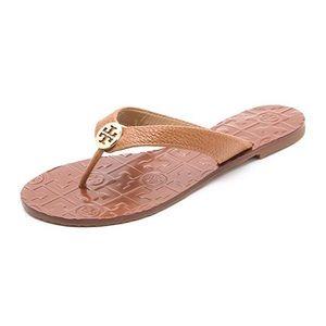 Tory Burch Thora Flat Thong Sandal Tan 7 NIB